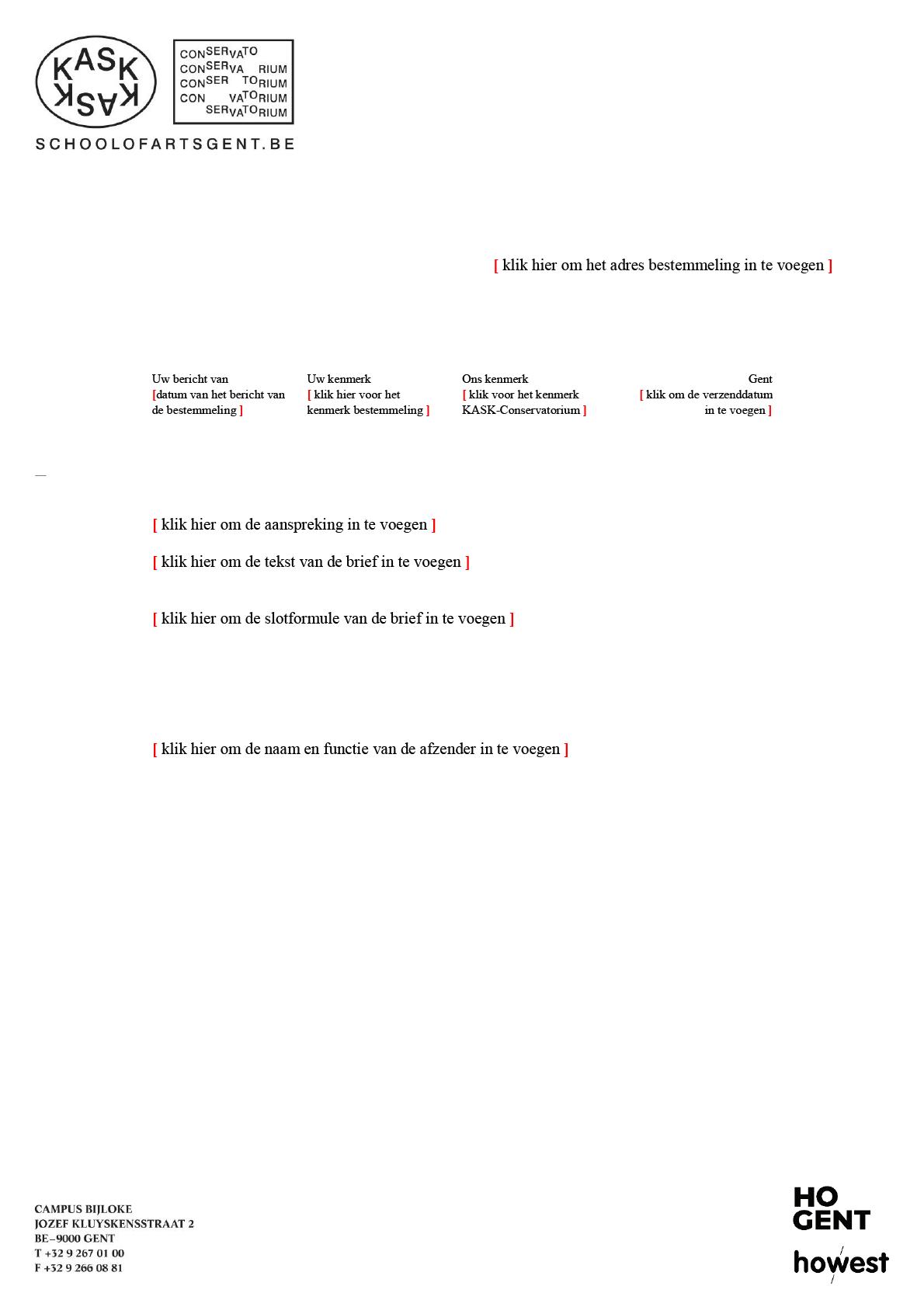 Brief (blanco). Microsoft Word-sjabloon voor KASK & Conservatorium (School of Arts Gent).