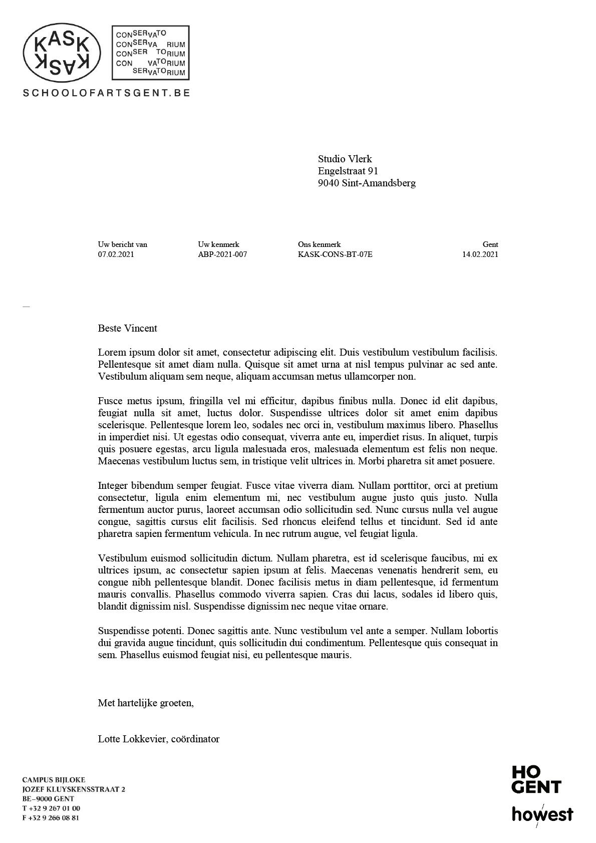 Brief (ingevuld). Microsoft Word-sjabloon voor KASK & Conservatorium (School of Arts Gent).