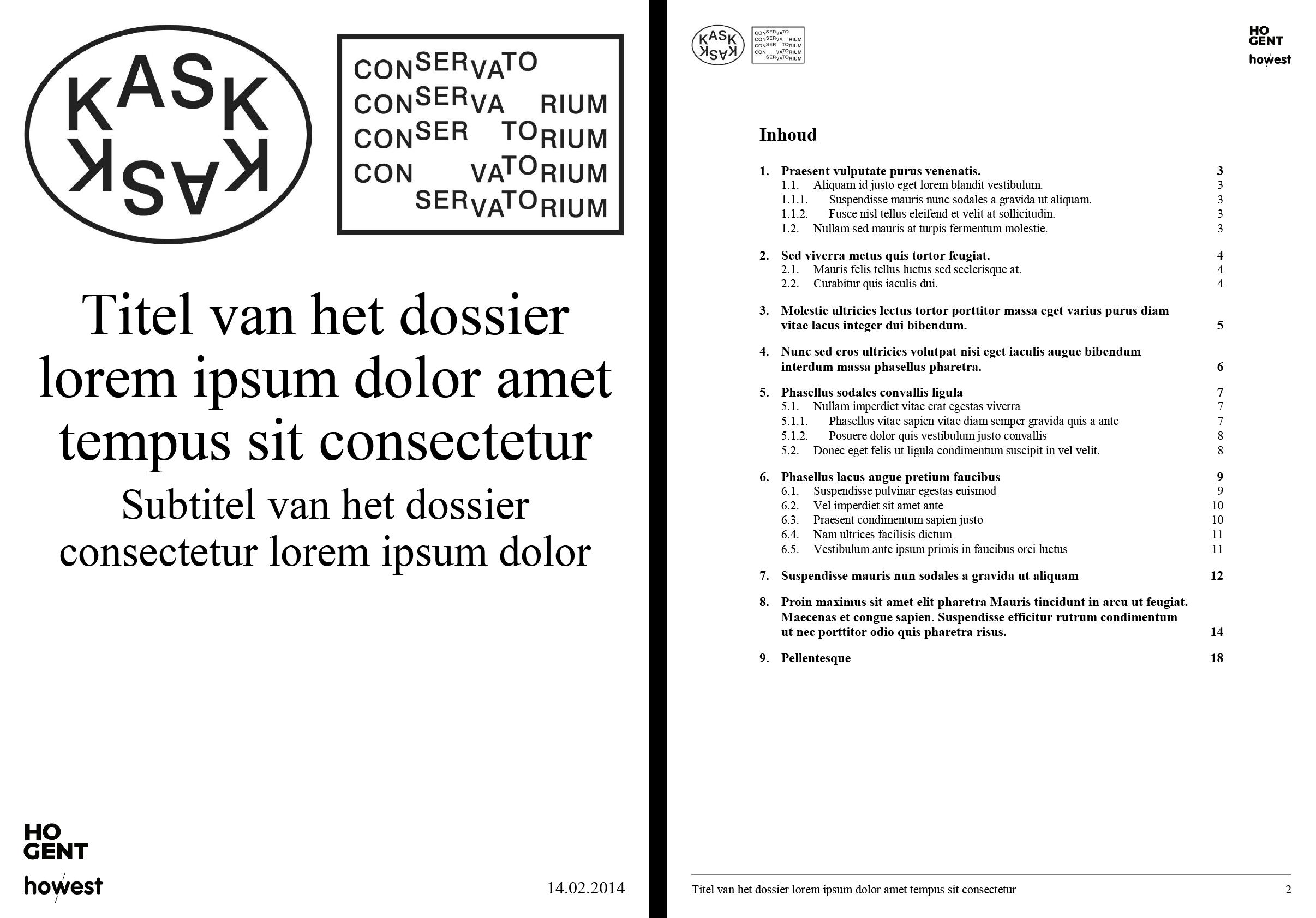 Dossier: voorblad en automatische inhoudsopgave (ingevuld). Microsoft Word-sjabloon voor KASK & Conservatorium (School of Arts Gent).
