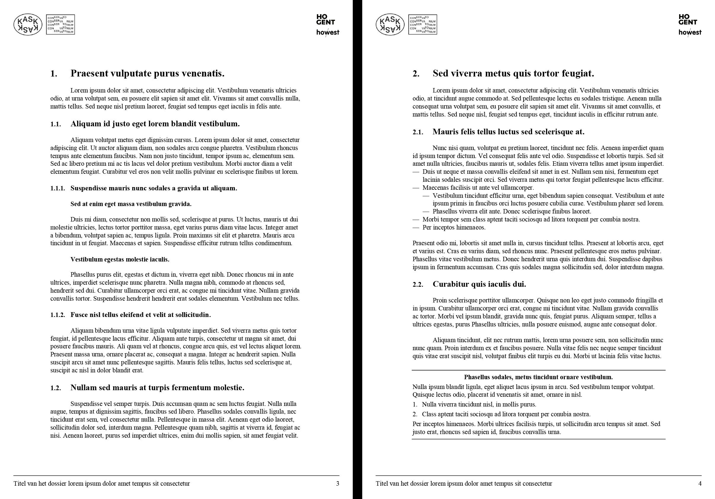 Dossier: tekstpagina met koppen, ongenummerde opsomming en kadertekst (ingevuld). Microsoft Word-sjabloon voor KASK & Conservatorium (School of Arts Gent).
