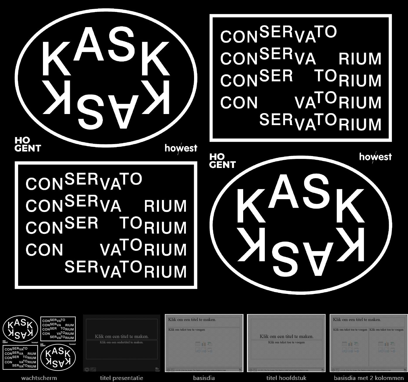 """Dia-type """"wachtscherm"""" van het Powerpoint-sjabloon voor KASK & Conservatorium (School of Arts Gent)."""
