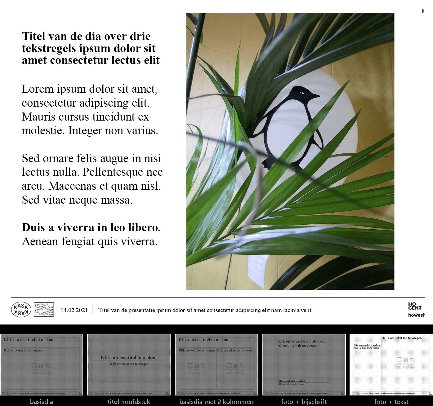 """Dia-type """"foto + tekst"""" van het Powerpoint-sjabloon voor KASK & Conservatorium (School of Arts Gent)."""