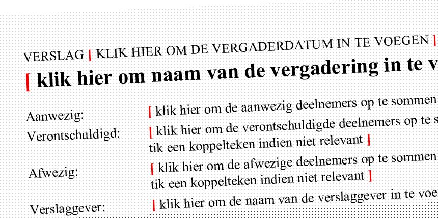 Tekstvelden voor Microsoft Word-sjablonen, aangeduid met rode rechte haken. Klik om de Microsoft Office-sjablonen voor KASK & Conservatorium (School of Arts Gent) te bekijken.