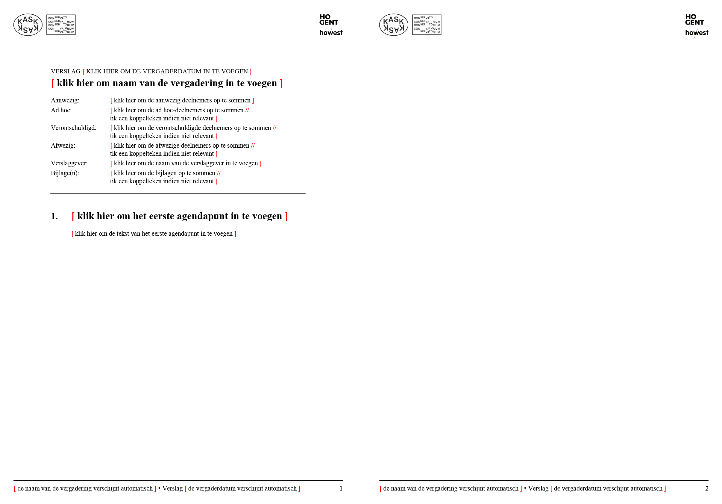 Verslag (blanco). Microsoft Word-sjabloon voor KASK & Conservatorium (School of Arts Gent).
