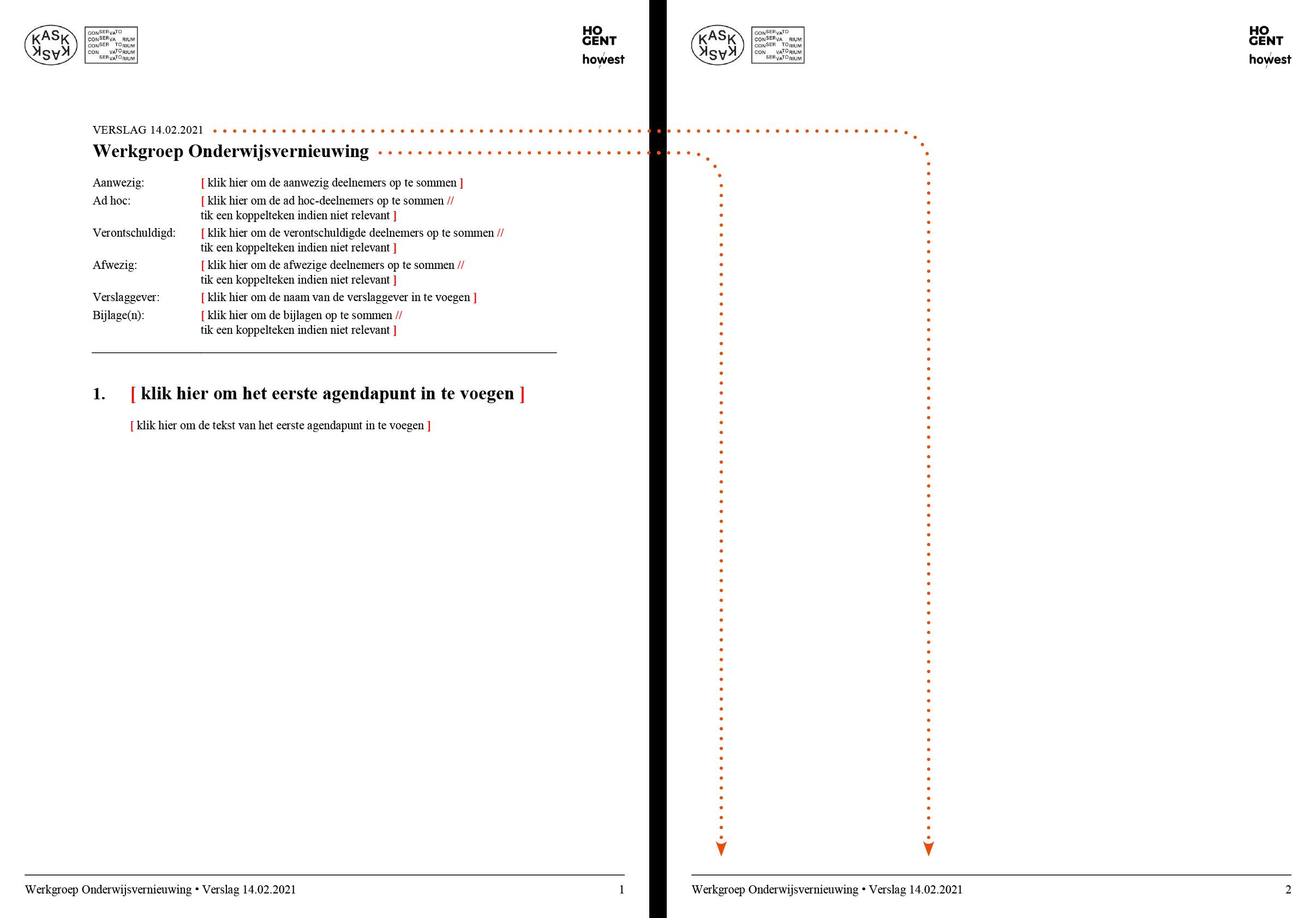 De voettekst wordt automatisch ingevuld via doorlussing uit de verslag-hoofding. Microsoft Word-sjabloon voor KASK & Conservatorium (School of Arts Gent).