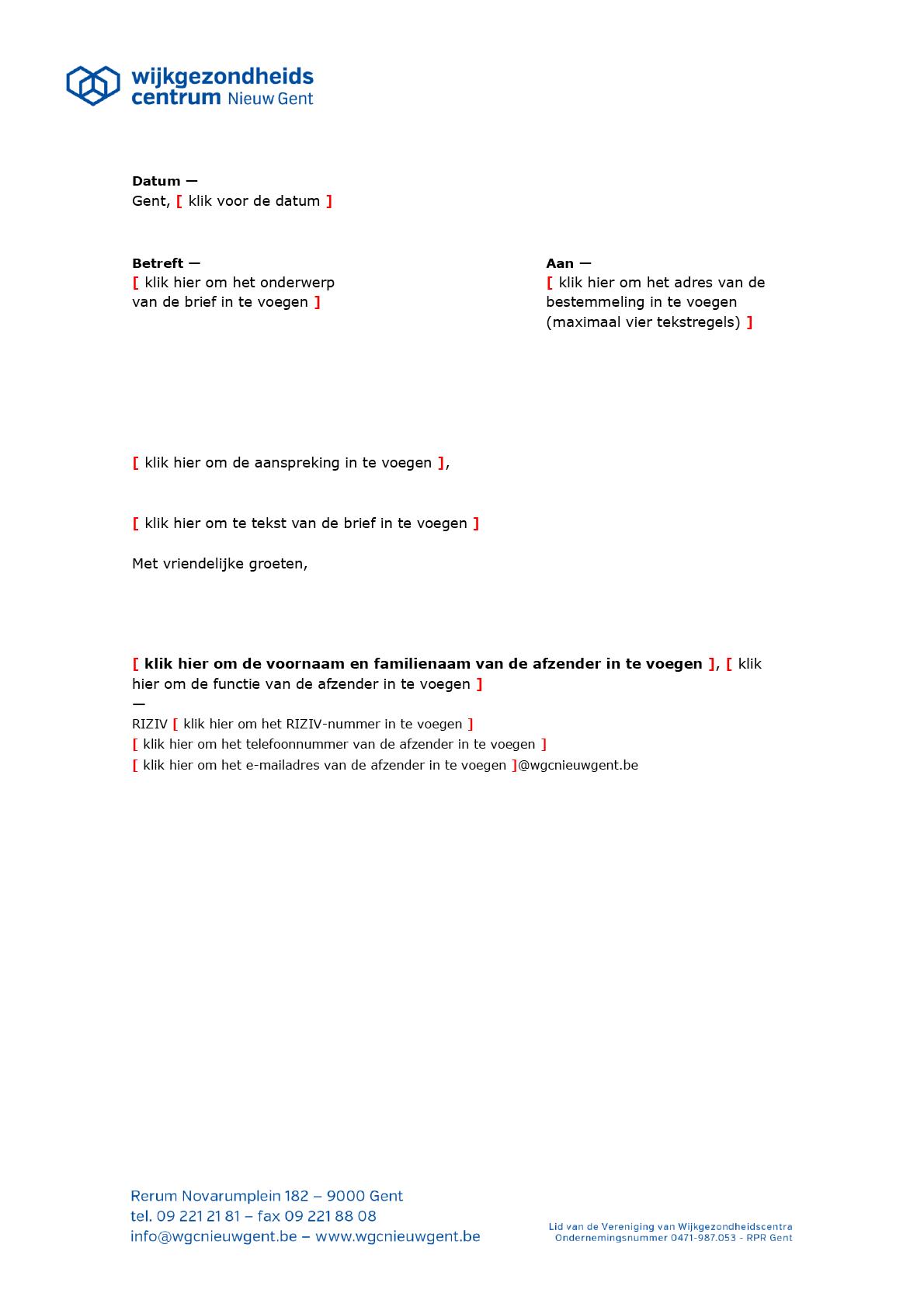 Brief (blanco). Microsoft Word-sjabloon voor WGC Nieuw Gent.