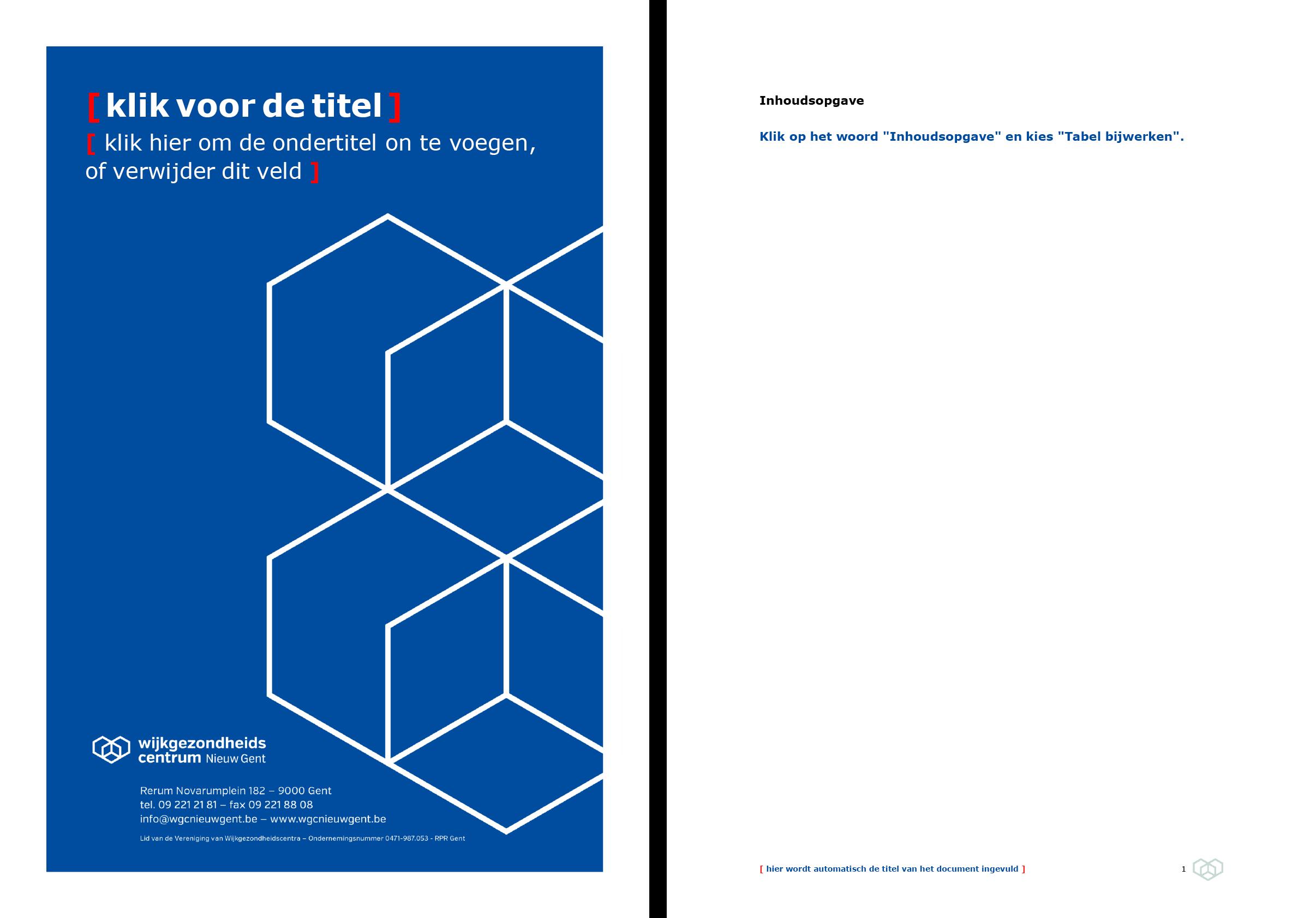 Dossier: voorblad blauw en automatische inhoudsopgave (blanco). Microsoft Word-sjabloon voor WGC Nieuw Gent.