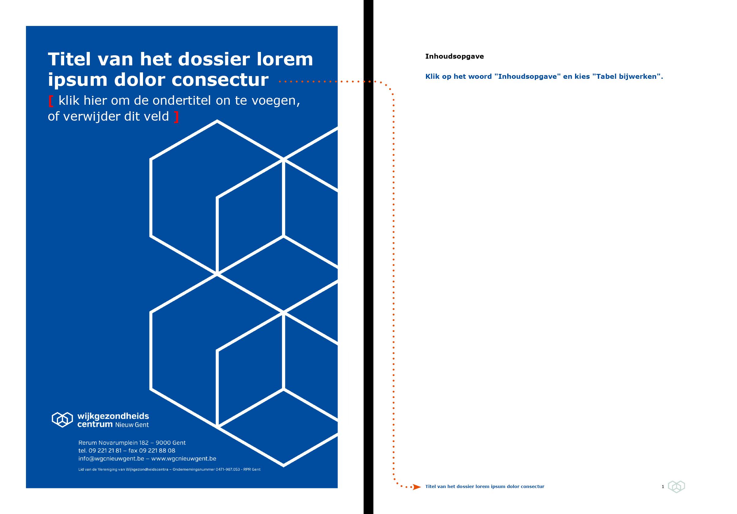 De voettekst wordt automatisch ingevuld via doorlussing uit het voorblad. Microsoft Word-sjabloon voor WGC Nieuw Gent.
