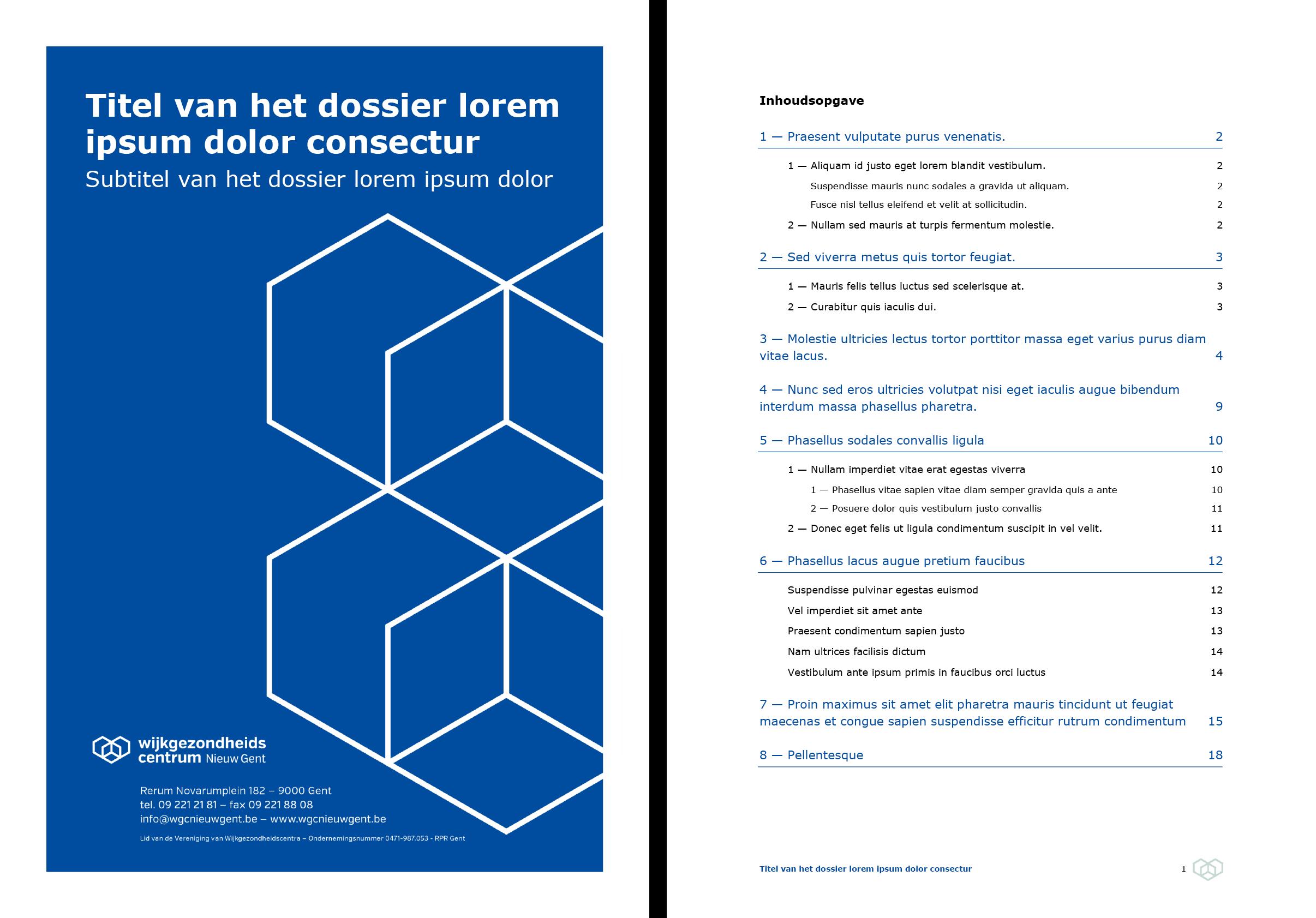 Dossier: voorblad blauw en automatische inhoudsopgave (ingevuld). Microsoft Word-sjabloon voor WGC Nieuw Gent.