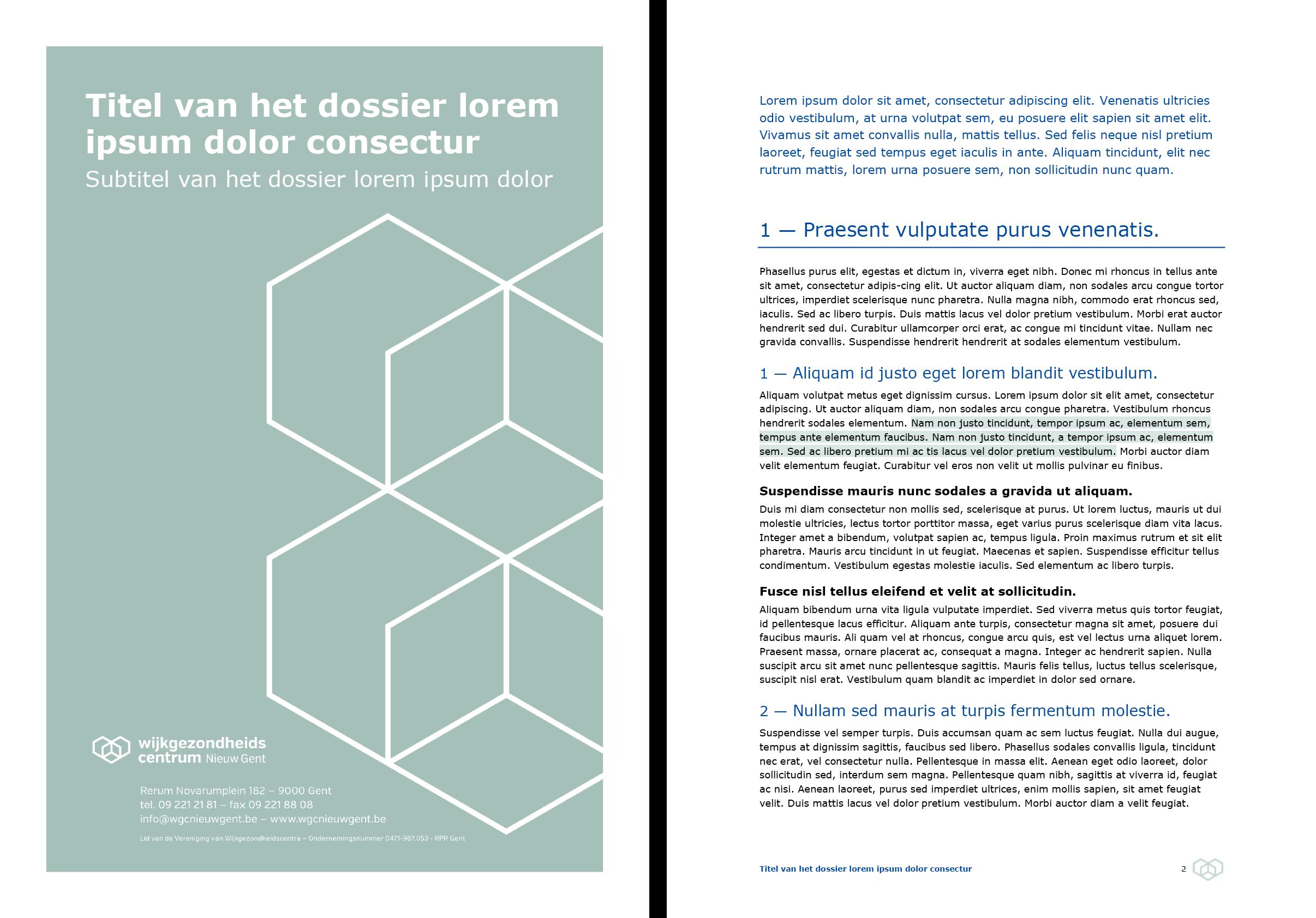 Dossier: voorblad grijs en documentpagina (ingevuld). Microsoft Word-sjabloon voor WGC Nieuw Gent.