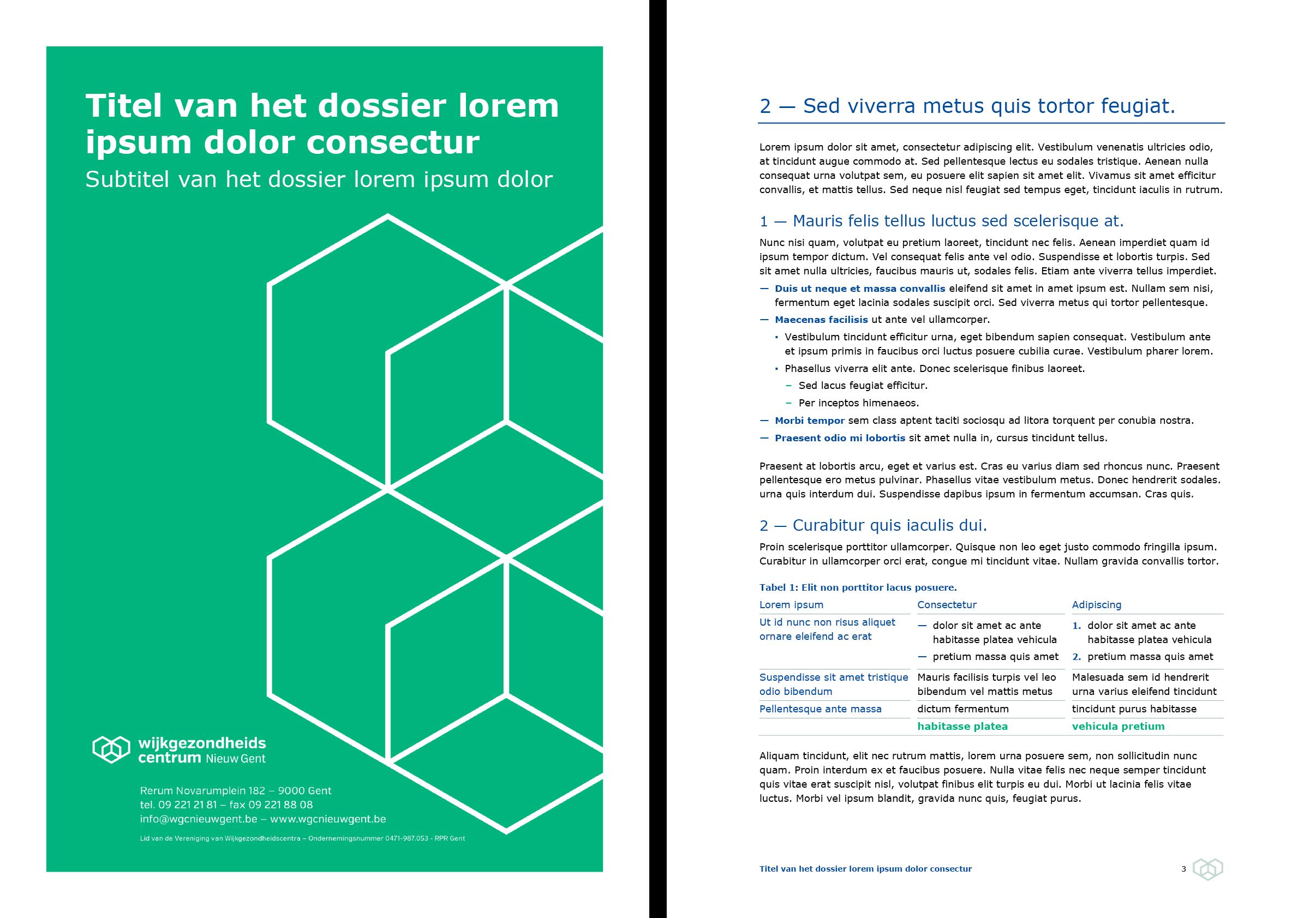 Dossier: voorblad groen en documentpagina (ingevuld). Microsoft Word-sjabloon voor WGC Nieuw Gent.