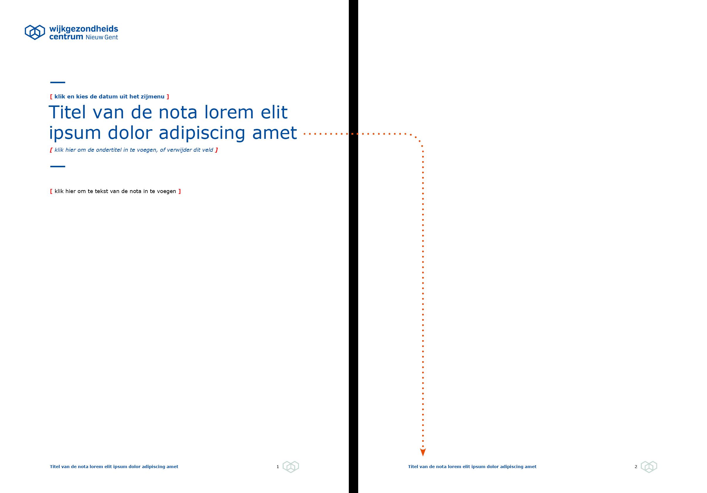 De voettekst wordt automatisch ingevuld via doorlussing uit de nota-hoofding. Microsoft Word-sjabloon voor WGC Nieuw Gent.