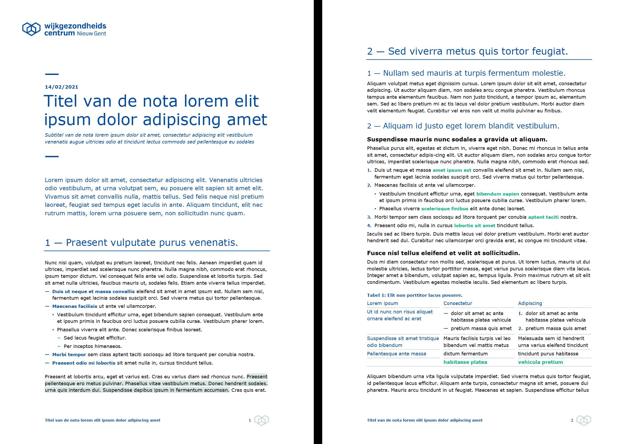 Nota (ingevuld). Microsoft Word-sjabloon voor WGC Nieuw Gent.