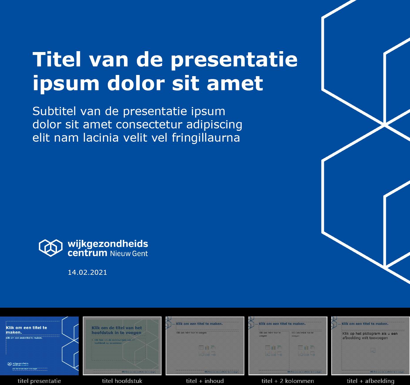 """Dia-type """"titel van de presentatie"""" van het Powerpoint-sjabloon voor WGC Nieuw Gent."""