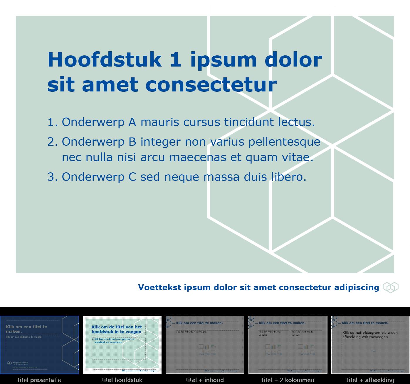 """Dia-type """"titel van hoofdstuk"""" van het Powerpoint-sjabloon voor WGC Nieuw Gent."""