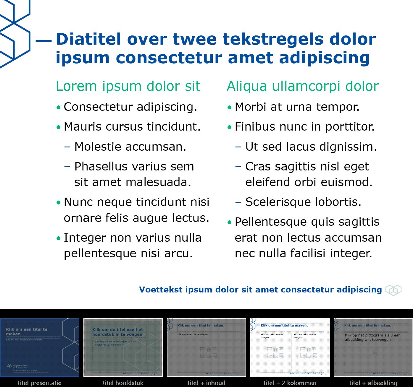 """Dia-type """"titel + inhoud over twee kolommen"""" van het Powerpoint-sjabloon voor WGC Nieuw Gent."""