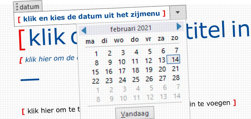 Een datumveld met kalender vereenvoudigt de invoer van datums in Word-sjablonen. Klik om de Microsoft Office-sjablonen voor WGC Nieuw Gent te bekijken.
